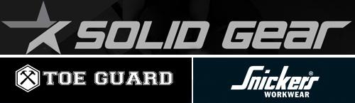 Toeguard, Solid Gear & Snickers Workwear logos.